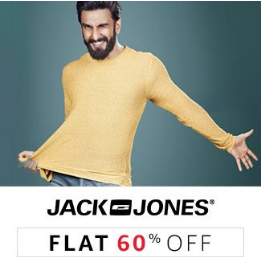 Jack & Jones Men's Clothing Flat 60% off from Rs. 278 + Cashback Offers