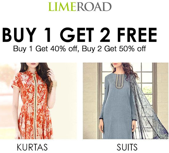 Buy 1 Get 2 Free on 1528 kurtas + Extra Rs.150 OFF