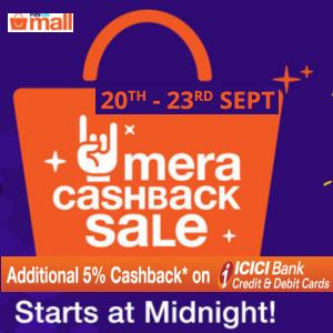 Mega cashback sale 20th - 23rd Sept @paytmmall