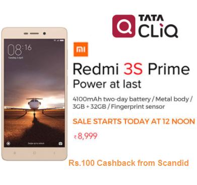 Xiaomi Redmi 3S Prime 4G Dual SIM 32 GB Rs.8999 @tatacliq [Live]